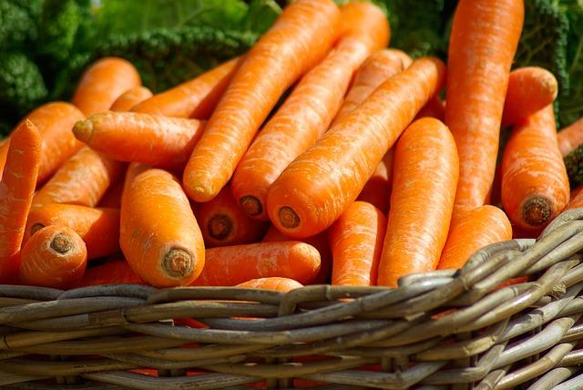 морковь, корзина, овощи