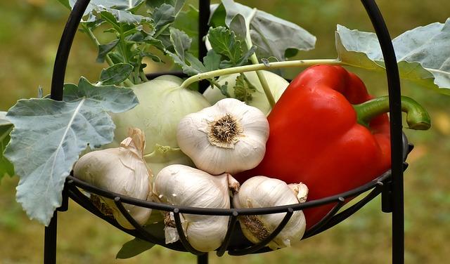 овощи, паприка, чеснок